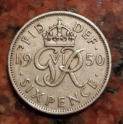 1950 Great Britain Six Pence Coin (Wedding Good Luck Coin) - #3562