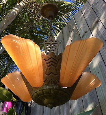 1930's VINTAGE ART DECO 5 ORANGE GLASS LIGHT SLIP SHADE CEILING CHANDELIER