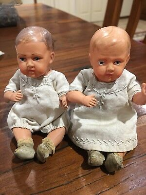 "5"" Antique Celluloid Pair/Twins USA Dolls"