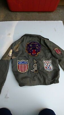 vintage 1950s boys jacket full of patches greaser hot roder sports bomber