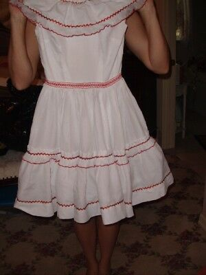 Western Square Dancing Dress--White/Red Trim by Evelyn