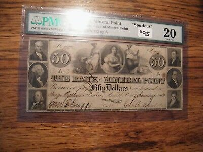 OBSOLETE PMG VF20 1830S-40S $50  SPURIOUS MINERAL POINT WI auctionmp1