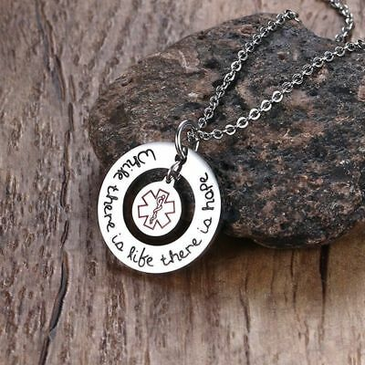 Women's Medical Alert ID Necklace Round Circle Pendant Tag Emergency SOS Jewelry