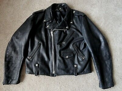 Vtg Schott Perfecto 125 Leather Motorcycle Jacket Side Lace  46
