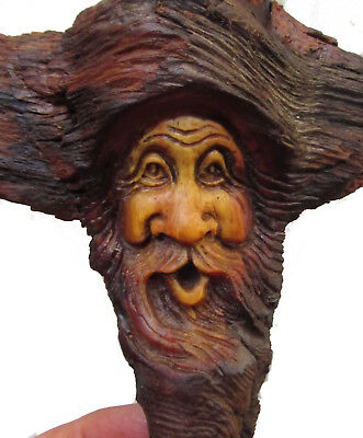 Wood Spirit Carving Small Knot Head Sculpture Log Home Gnome Cabin Art