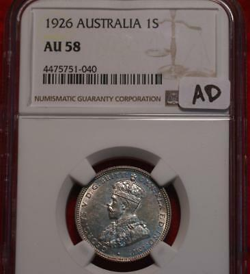 1926 Australia One Shilling Silver Coin NGC Graded AU 58