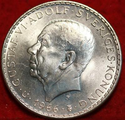 Uncirculated 1966 Sweden 5 Kroner Silver Foreign Coin