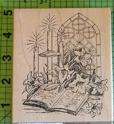 Stained Glass Window Bible Lillies Candles rubber stamp by Northwoods Christian