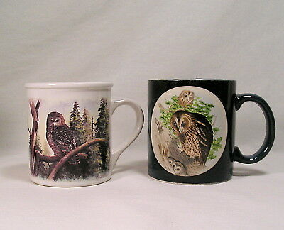Decorative Owl Coffee Cups Lot Of 3 Bird Owl Coffee Mugs Barn Owl Baby Owls