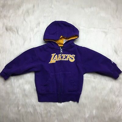 Lakers Basketball Purple Long Sleeve Zip Up Hoodie Sweater Toddler Size 2T