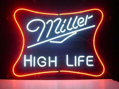 "Miller High Life Sign Neon Sign Real Neon Store Display Beer Bar Sign17""X14""Z057"