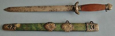 Very Rare Antique Chinese Miniature Jian Sword Dagger Size Fine Blade Qing 1880