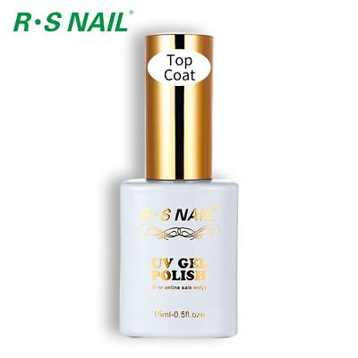RS Nail UV LED Gel Nail Polish No Wipe Top Coat High Shine Finish Clear 15ml NEW