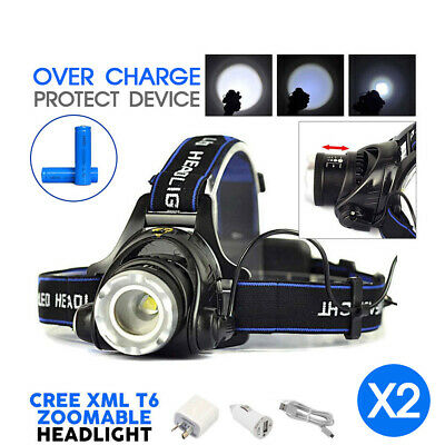 2X 35000LM Zoomable LED Headlamp Rechargeable Headlight CREE XML T6 Head Torch