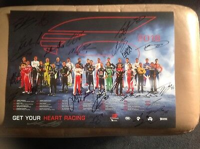 Supercars Foxtel Sports  2018 Drivers Poster 25 Autographs Holden Ford Nissan