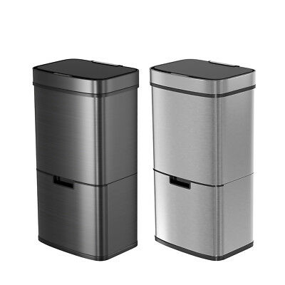 75L Stainless Steel 2-Compartment Sensor Touchless Recycling Bin Silver/Black