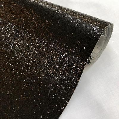 Black Chunky Glitter Fabric Sparkly Vinyl Taped Backed Material Decor Walls 54""