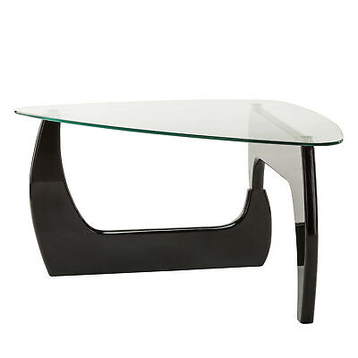 SUNCOO MODERN GLASS Black Coffee Table Side End Table Living ...