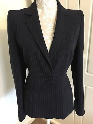 Hobbs Pinstripe Suit Jacket With Shoulder Pads Navy 12 Mint Condition