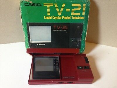RARE Vintage CASIO TV-21 LIQUID CRYSTAL POCKET TELEVISION w/original box--Japan