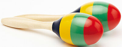 "NEW Pair of Wooden Performance Percussion Maracas - Rainbow Stripes 9"" Long SEN"