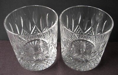 Nice Quality Pair Of Stuart Crystal Hamilton Cut Rummers Whiskey Glasses 3-1/4""