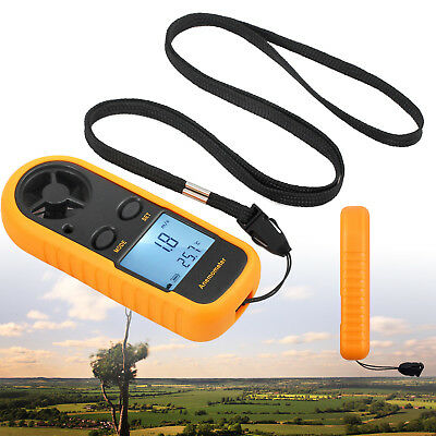 Digital LCD Air Wind Speed Meter Tester Anemometer Temperature Gauge Thermometer