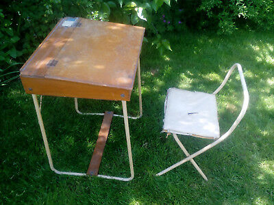 Vintage Triang Child's Wooden School Desk and Folding Chair