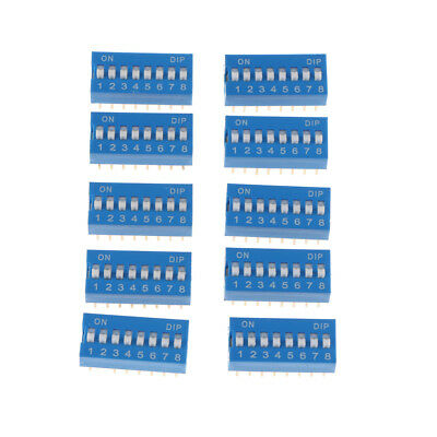 10Pcs Blue 2.54mm Pitch 8 Positions 16 Pin DIP Switch 8P Slide Type