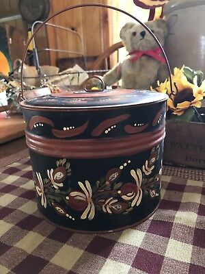 Antique Toleware Tole Painted Berry Bucket Pail with Cover & Bail Handle
