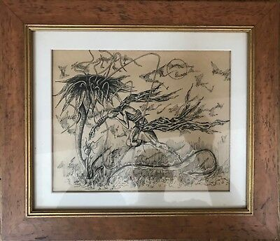 VINTAGE abstract surreal Pen and Ink Drawing, 1920S