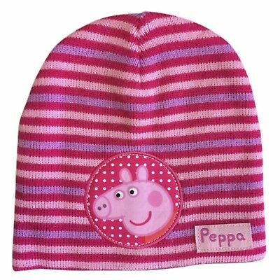 Peppa Pig Winter Hat Knitted Child's Girls Pink Purple Peppa Beanie Hat NEW