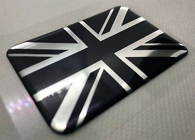 1x Union Jack Flag 3D domed sticker. Silver black. 64x44mm.