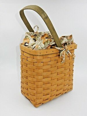 "Longaberger 9"" Autumn Tote Basket With Pumpkin Liner Protector~ Signed With Coa"
