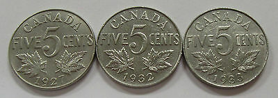 1927, 1932 & 1933 Collector Quality Lot of 3 Canada Nickels