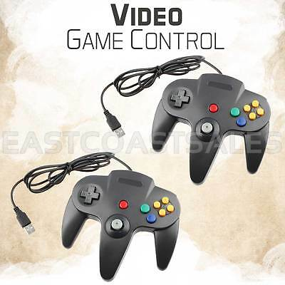 2x Controller Video Game System for Nintendo 64 N64 Black Mac PC Computer USB
