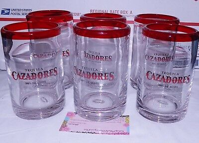 Set Lot 6 New Cazadores Tequila Thick Glass Glasses Red Rim 12 Oz 5X3 Multiple