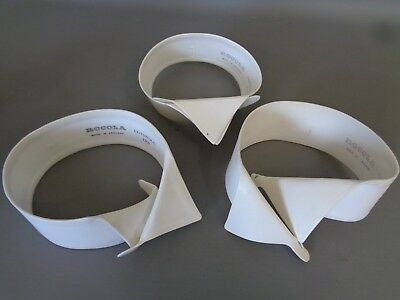 Three good vintage ROCOLA Cotswold Wing Collars Stiff Detachable Size 15.5""