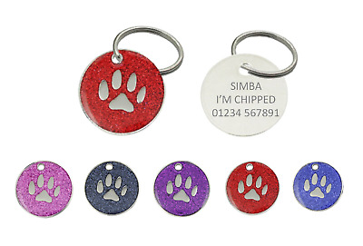 Personalised Engraved Glitter Paw Print Dog Cat Pet ID Tags - FREE P & P