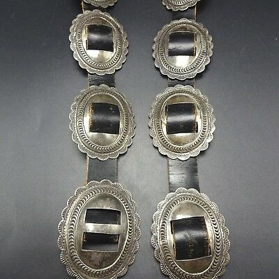 Vintage 1950s NAVAJO Hand Stamped Sterling Silver CONCHO BELT 1st Phase Revival