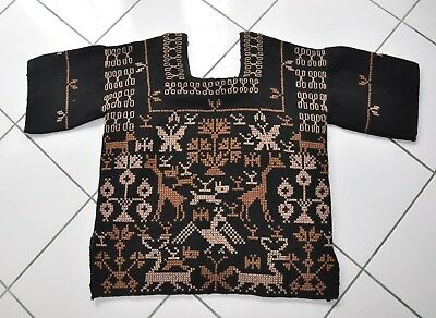 Vintage 1970s Handmade Mexican Embroidered Wool Blouse, Satin-Lined
