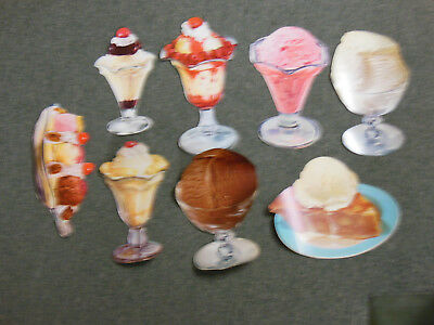 Lot Of 8 Vintage 1950's Ice Cream Die Cuts All Different Lot 1