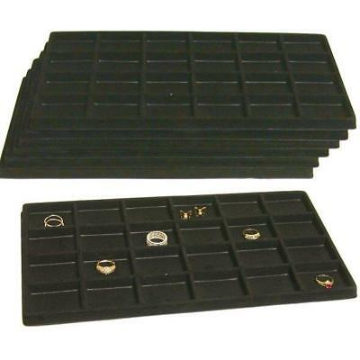 7 Black Flocked 24 Compartment Display Tray Inserts