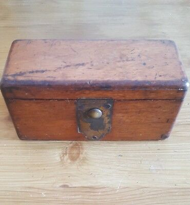 Small Antique Wooden Walnut Sewing Machine ?? Box with Unusual Push Button Catch