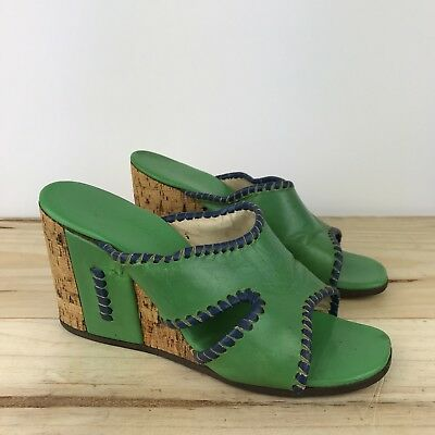 Vintage 1970s Jack Rogers Green Wedge Cork Sandals by Stix Baer & Fuller Sz 6