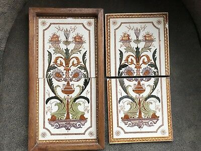 Antique Victorian tiles hand tinted Qty 4 - 6 x 6 x 1/4""