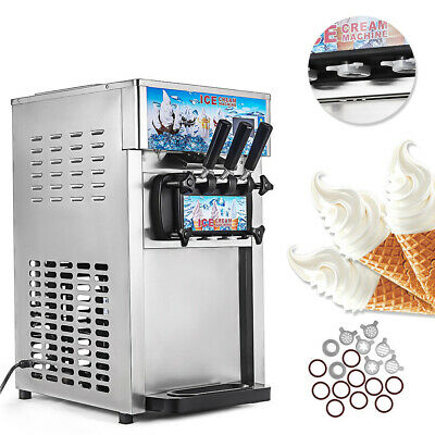 3 Flavors Commercial Soft Ice Cream Machine Frozen Ice Cream Cones Machine 220V