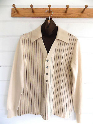Vintage SULKA Mens Sweater Beige Striped V Neck Attached Turtleneck-60's?-Sz.M