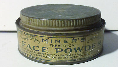 Vintage 1900's Miner's Superb Theatrical Face Powder Tin