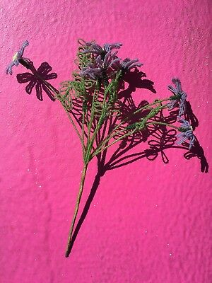 VTG Antique French Beaded Purple Lavender 7 Daisy Flowers 4 Leaf Fronds